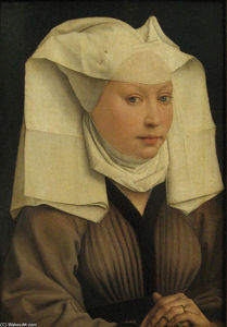 Rogier Van Der Weyden - Portrait of a Young Woman in a Pinned Hat