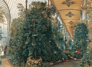 Rudolf Von Alt - Interior view of the Palm House of Lednice Castle