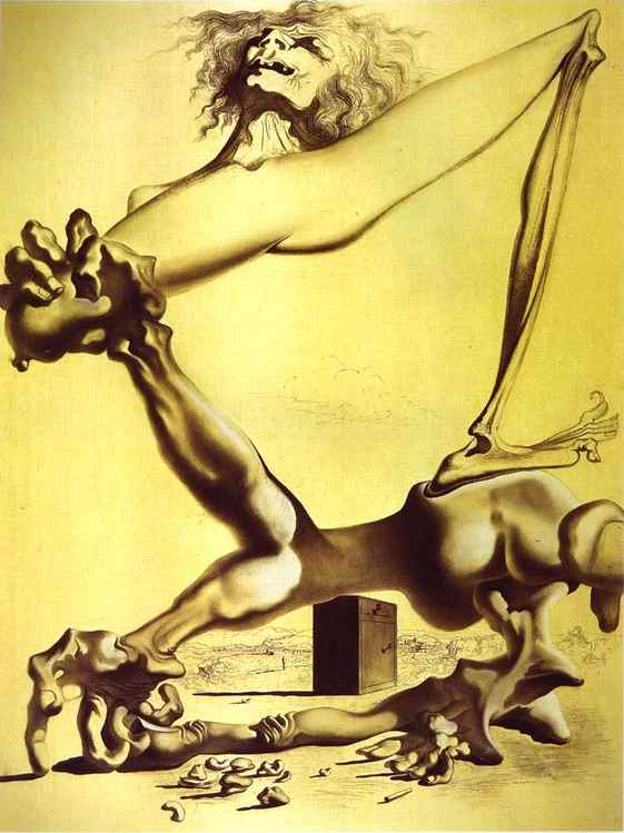 Premonition of Civil War, Charcoal by Salvador Dali (1904-1989, Spain)