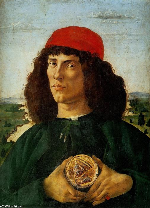 Portrait of a Man with the Medal of Cosimo, Tempera by Sandro Botticelli (1445-1510, Italy)