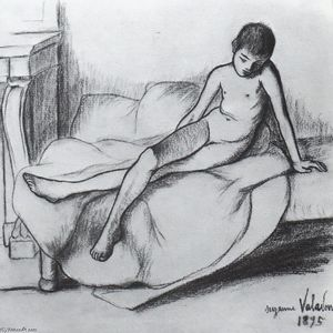 Suzanne Valadon - Utrillo Nude Sitting on a Couch