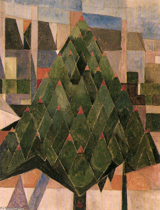 Tree, Oil On Canvas by Theo Van Doesburg (1883-1931, Netherlands)