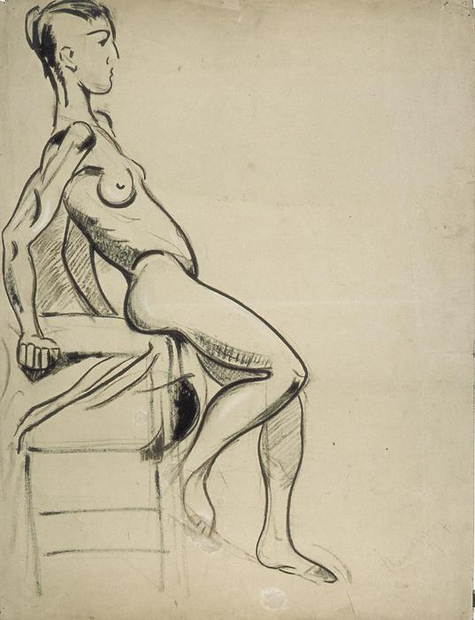Female nude on a chair, Charcoal by Theo Van Doesburg (1883-1931, Netherlands)