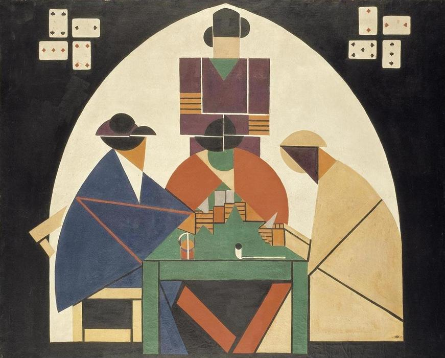 The Cardplayers, Oil On Canvas by Theo Van Doesburg (1883-1931, Netherlands)