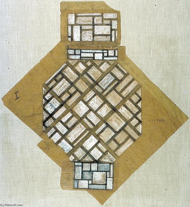 Sketch for the ceiling, 1923 by Theo Van Doesburg (1883-1931, Netherlands) | WahooArt.com