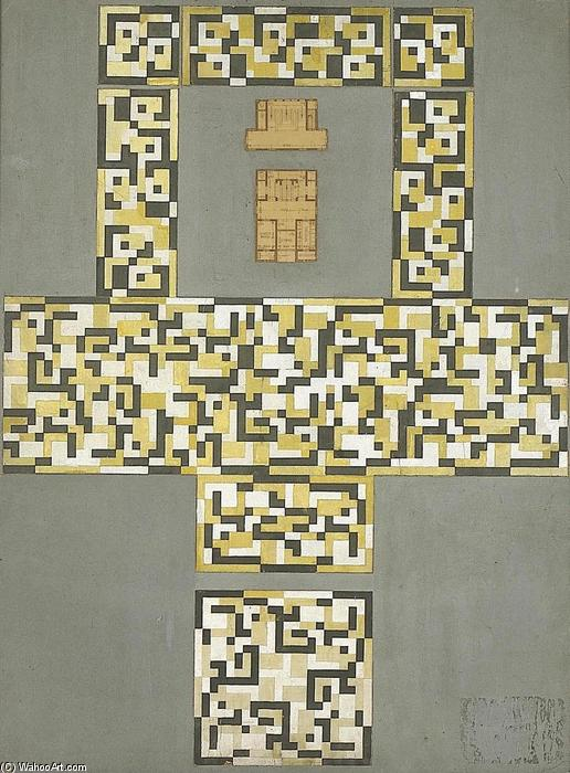 Design for a tile floor, and entrance hall, Gouache by Theo Van Doesburg (1883-1931, Netherlands)