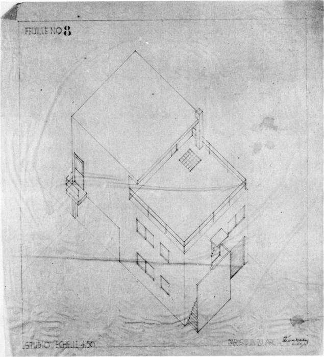 Axonometric drawing of the house in Meudon by Theo Van Doesburg (1883-1931, Netherlands)