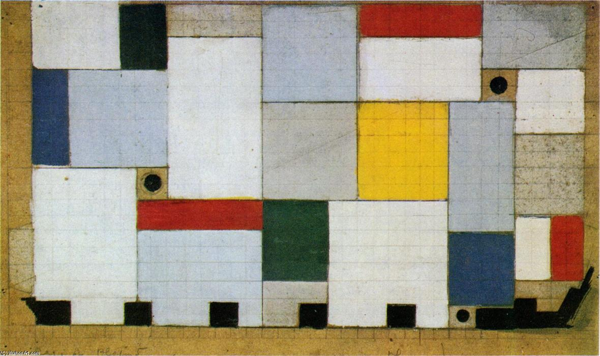Color design for the ceiling of the Cafe Brasserie by Theo Van Doesburg (1883-1931, Netherlands)