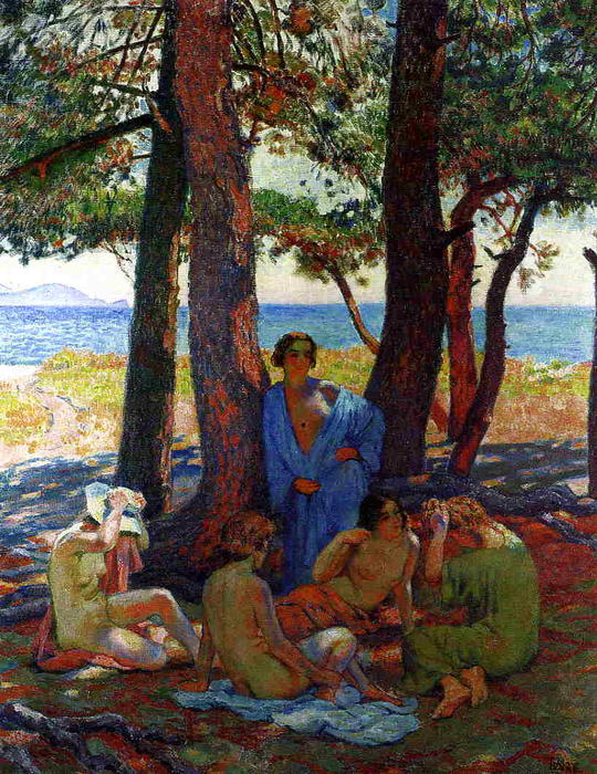 Bathers under the Pines by the Sea, 1926 by Theo Van Rysselberghe (1862-1926, Belgium) | WahooArt.com