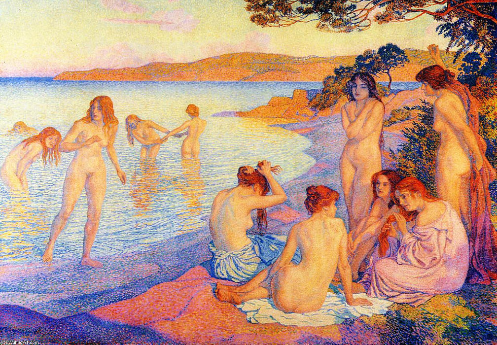 The burning time, 1897 by Theo Van Rysselberghe (1862-1926, Belgium) | WahooArt.com