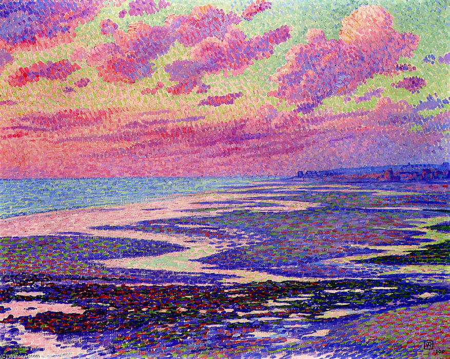 Order Museum Quality Reproductions : The Beach at Ambleteuse at Low Tide, 1900 by Theo Van Rysselberghe (1862-1926, Belgium) | WahooArt.com