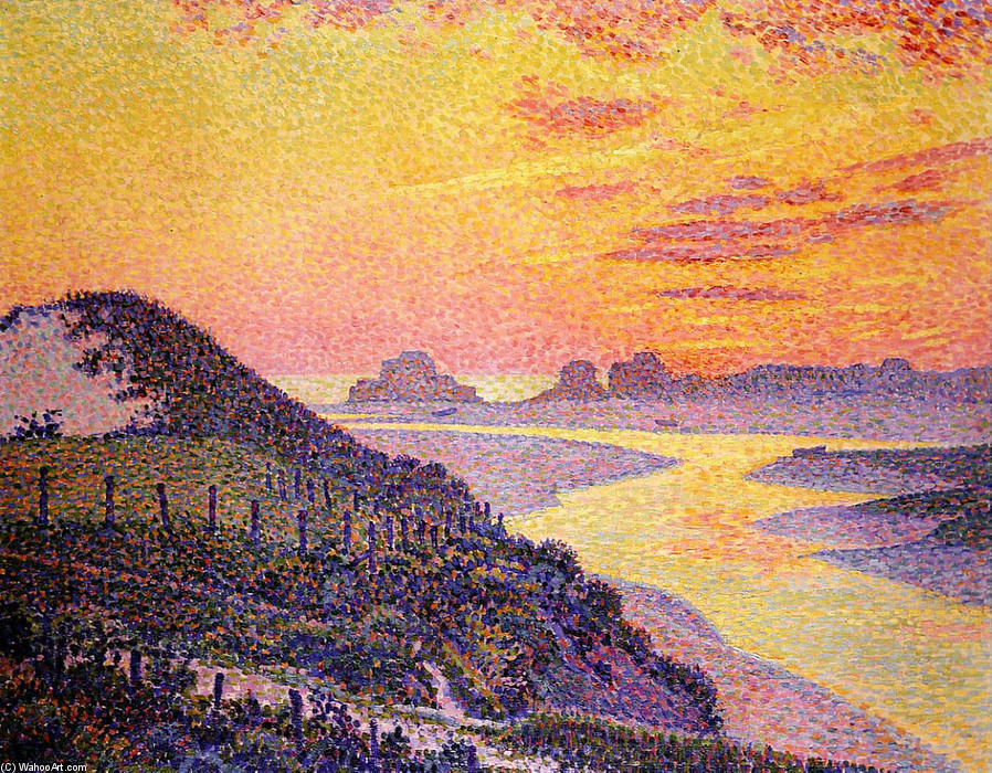 Sunset at Ambletsuse, 1899 by Theo Van Rysselberghe (1862-1926, Belgium) | Oil Painting | WahooArt.com