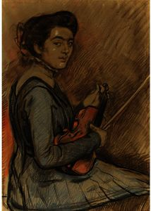 Theo Van Rysselberghe - Renee Druet with violin