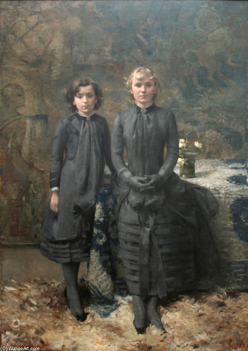 The Sisters of the Painter Schlobach, Oil On Canvas by Theo Van Rysselberghe (1862-1926, Belgium)