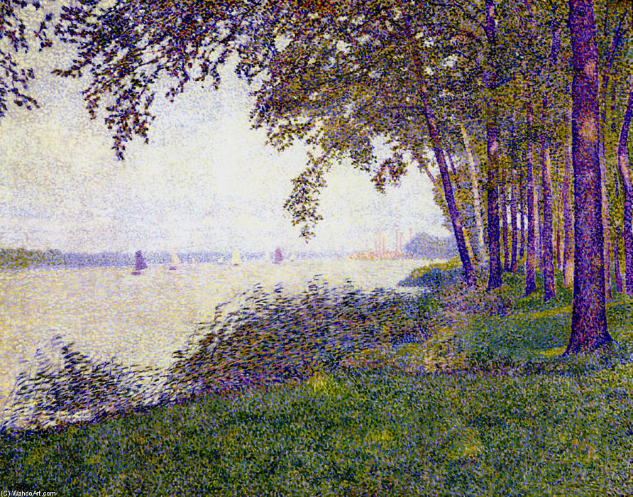 The Schelde Upstream from Antwerp After Fog, 1892 by Theo Van Rysselberghe (1862-1926, Belgium)
