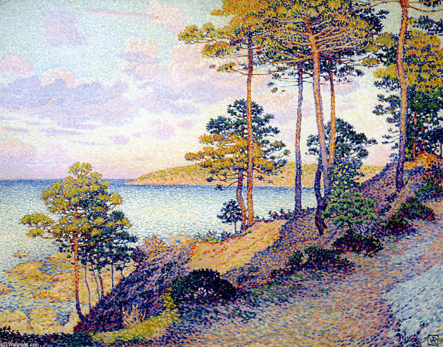 The Pointe St. Pierre at St. Tropez, 1896 by Theo Van Rysselberghe (1862-1926, Belgium) | Art Reproduction | WahooArt.com
