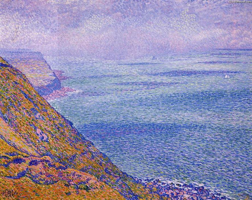 The Cap Gris Nez, Oil On Canvas by Theo Van Rysselberghe (1862-1926, Belgium)