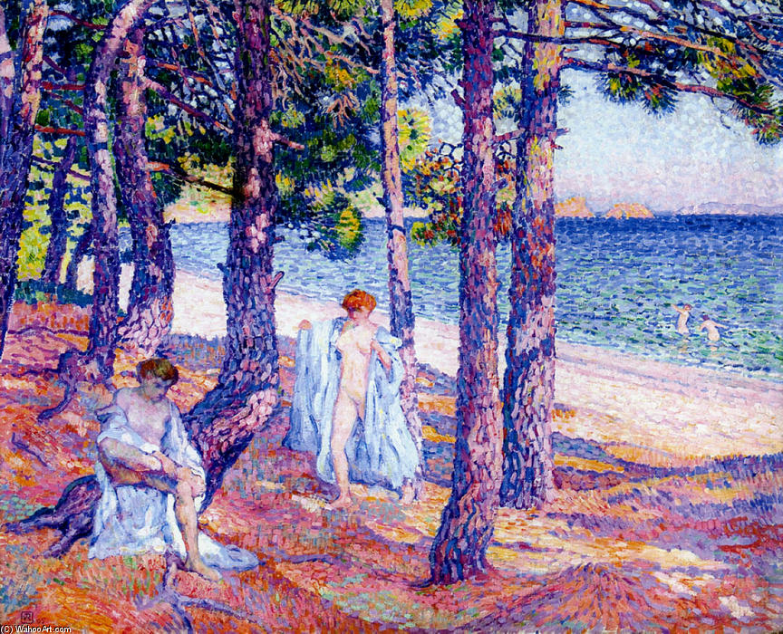 Female Bathers Under the Pines at Cavaliere, 1905 by Theo Van Rysselberghe (1862-1926, Belgium)