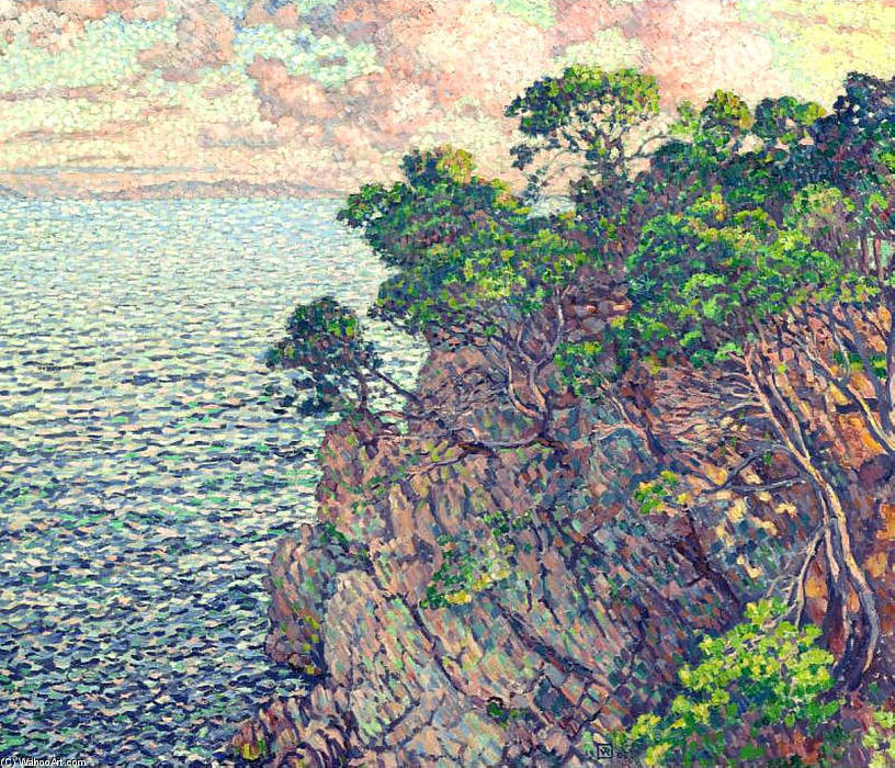 The Point of Rossignol, Oil On Canvas by Theo Van Rysselberghe (1862-1926, Belgium)