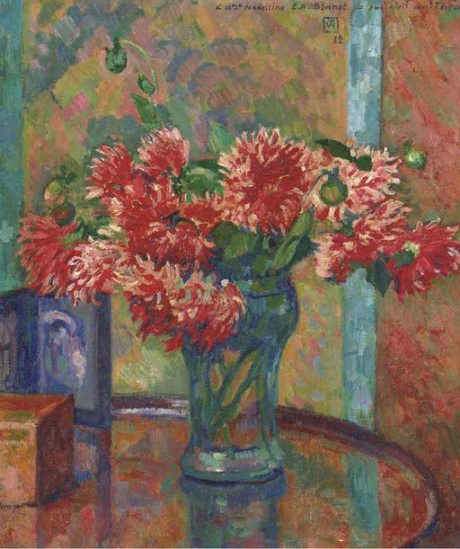 Dahlias (to Mme Madeleine E.R Bonnet), 1912 by Theo Van Rysselberghe (1862-1926, Belgium)