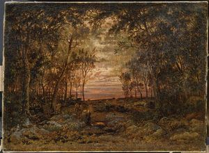 Theodore Robinson - Sunset in the forest