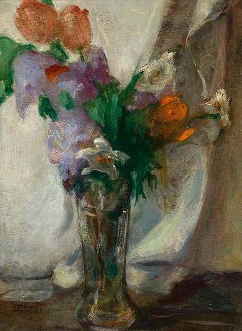 Vase with flowers, 1930 by Theophrastos Triantafyllidis (1881-1955) | Reproductions Theophrastos Triantafyllidis | WahooArt.com