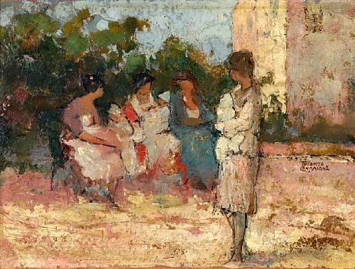 Nannies in the park by Theophrastos Triantafyllidis (1881-1955)