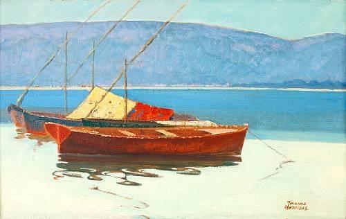 Boats in calm water by Theophrastos Triantafyllidis (1881-1955) |  | WahooArt.com