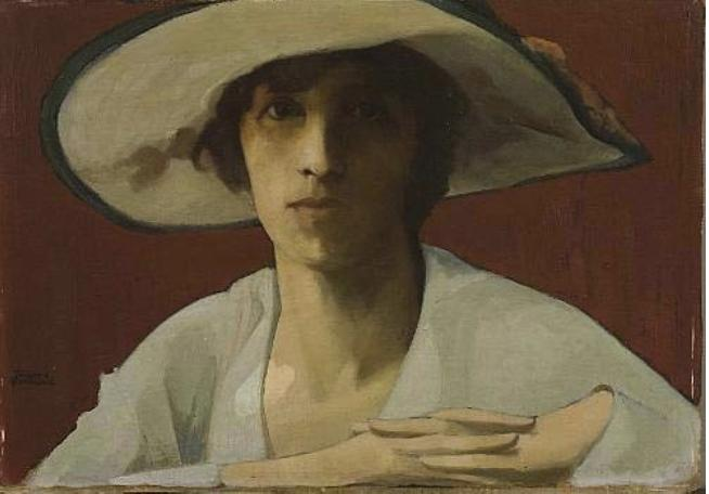 Woman in white by Theophrastos Triantafyllidis (1881-1955) |  | WahooArt.com