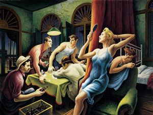 Thomas Hart Benton - Poker Night