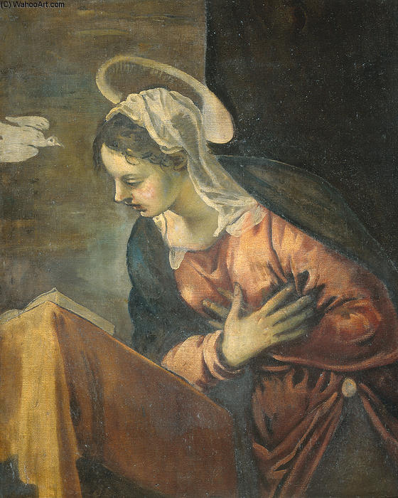 Annunciation, Maria, 1594 by Tintoretto (Jacopo Comin) (1518-1594, Italy) | Art Reproduction | WahooArt.com