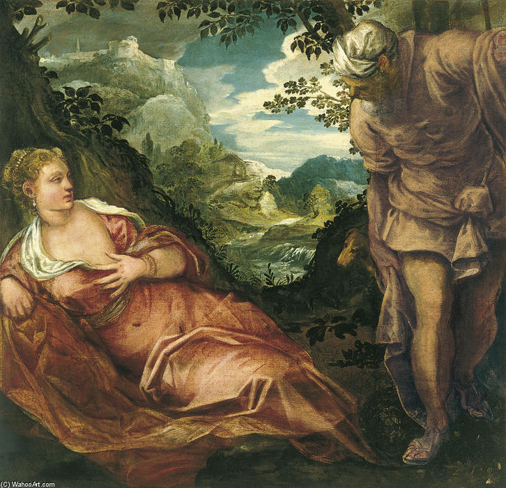 Tamar and Judah, 1559 by Tintoretto (Jacopo Comin) (1518-1594, Italy) | Museum Quality Reproductions | WahooArt.com