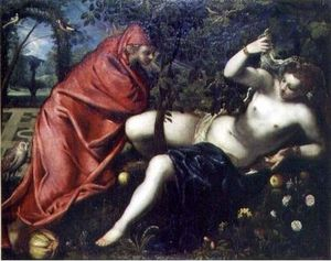 Tintoretto (Jacopo Comin) - Angelica and the hermit