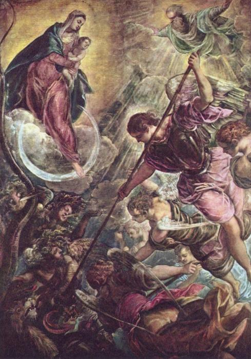 Battle of the Archangel Michael and the Satan by Tintoretto (Jacopo Comin) (1518-1594, Italy) | Art Reproduction | WahooArt.com