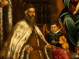 Tintoretto (Jacopo Comin) - Doge Alvise I Mocenigo and Family Before the Madonna
