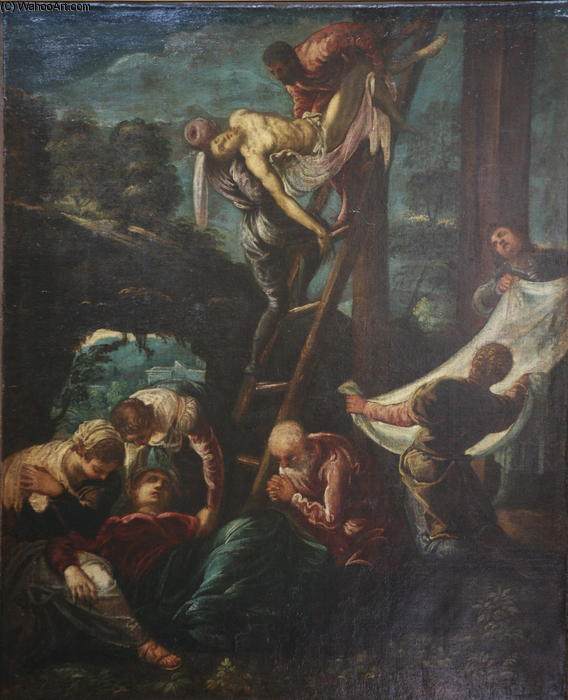 The descent from the Cross, 1580 by Tintoretto (Jacopo Comin) (1518-1594, Italy) | Famous Paintings Reproductions | WahooArt.com
