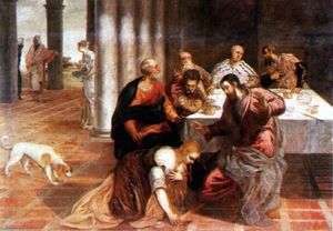 Tintoretto (Jacopo Comin) - Christ in the house of the Pharisee