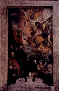 Tintoretto (Jacopo Comin) - Risen Christ with St.Andrew and members of Morosini family