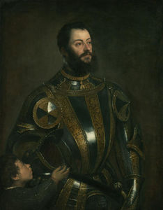 Tiziano Vecellio (Titian) - Portrait of Alfonso d`Avalos , in Armor with a Page