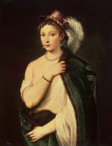 Tiziano Vecellio (Titian) - Portrait of a young woman with feather hat