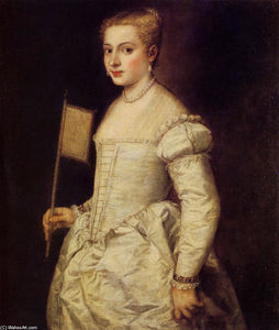 Tiziano Vecellio (Titian) - Portrait of a Lady in White