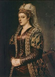 Tiziano Vecellio (Titian) - Portrait of Caterina Cornaro wife of King James II of Cyprus, dressed as St. Catherine