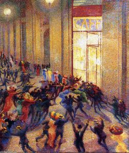 Order Reproductions | Riot in the Galleria, 1909 by Umberto Boccioni (1882-1916, Italy) | WahooArt.com