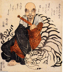 Utagawa Kuniyoshi - Hattara Sonja with his white tiger