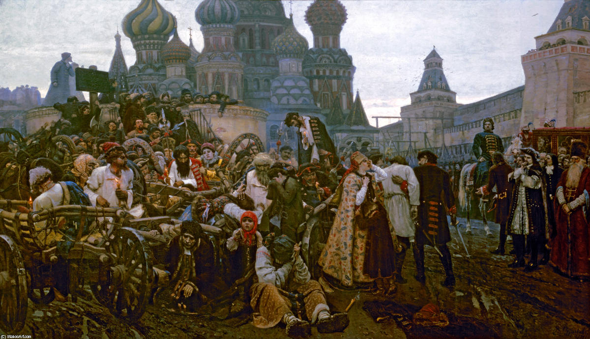 Morning of the Strelets' Execution, Oil On Canvas by Vasili Ivanovich Surikov (1848-1916, Russia)