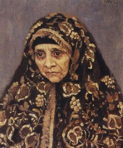 Vasili Ivanovich Surikov - The old woman with a patterned headscarf
