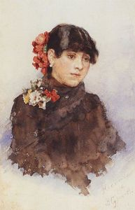 Vasili Ivanovich Surikov - Neapolitan girl with flowers in her hair