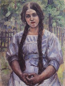 Vasili Ivanovich Surikov - A girl with braids. Portrait of A. A. Dobrinskaya.