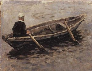 Vasili Ivanovich Surikov - On boat (Study to ''The Conquest of Siberia by Yermak'')