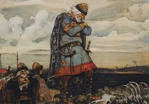 Victor Vasnetsov - Oleg at his horse`s remains